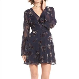 J.O.A Burnout Velvet Fit & Flare Dress Navy $130
